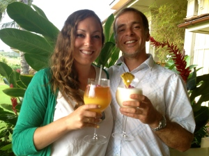 Toby's first pina colada, and my last mai tai (forgot I don't like them)