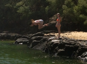 We did some rock diving into the cold fresh water of the river