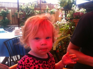 Sweet little Layla Loo...a true California kid, with Mexican food all over her face...