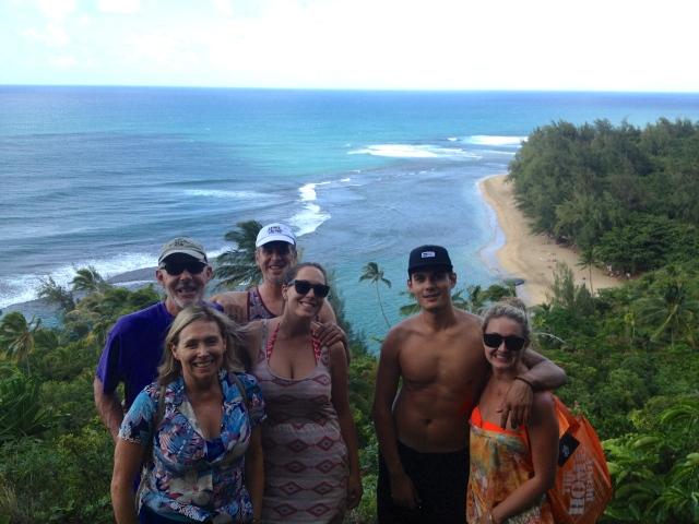 The whole crew above Ke'e beach