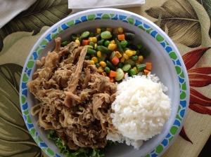 Kalua Pork (cooked in an imu, an underground pit) with Rice and Veggies