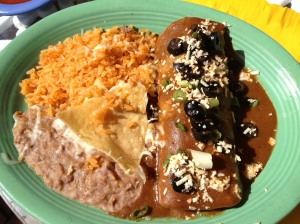 Beef Enchilada with Rice and Beans
